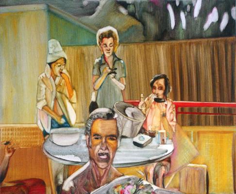 """""""Marie-Thérèse, Pierre-Yves et certains amis mangent des oursins en Espagne en 1965"""", 50 cm x 36 cm, huile sur toile, 2010, Paris"""