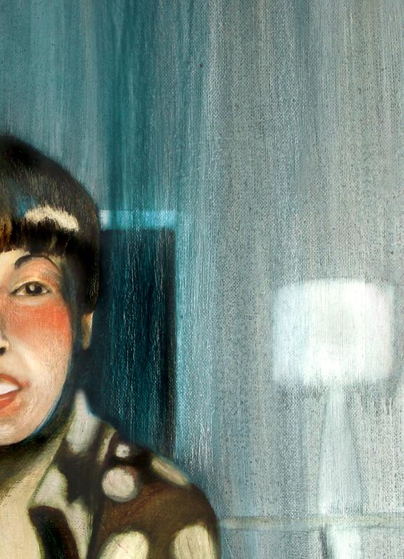 A la tombée du jour, 50 cm x 50 cm, huile sur toile, 2013, Paris, peinture contemporaine, portrait hocney, davidsalle, ericfischl, fauve, 2