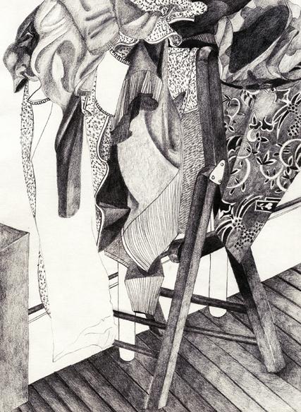 """""""Au travail"""", mine de plomb sur papier, 28 cm x 40 cm, 2009, Paris"""
