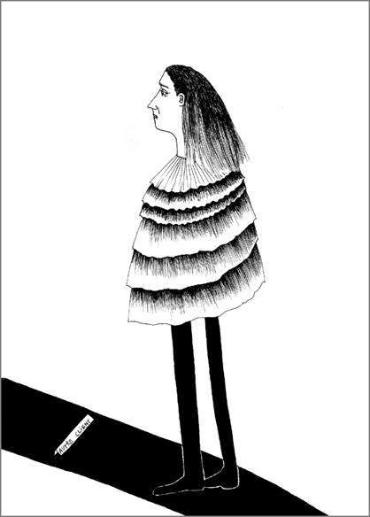 """""""Autre client"""", encre de Chine sur papier, 14 cm x 21 cm, 2009, Paris"""