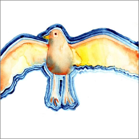 """Birdy"", aquarelle, 30 cm x 30 cm, 2007, Paris"