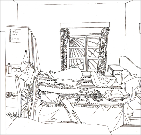 Chambre à Essaouira, encre sur papier, 30 cm x 30 cm, 2007, Essaouira