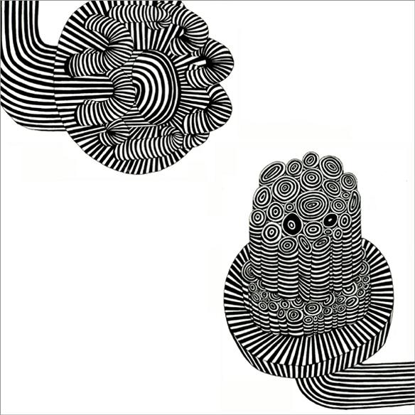 """""""Conversation, conservation n°4"""", encre sur papier, 56 cm x 56 cm, 2006"""