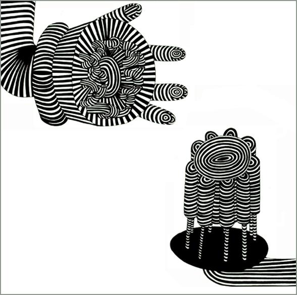 """""""Conversation, conservation n°5"""", encre sur papier, 56 cm x 56 cm, 2006"""
