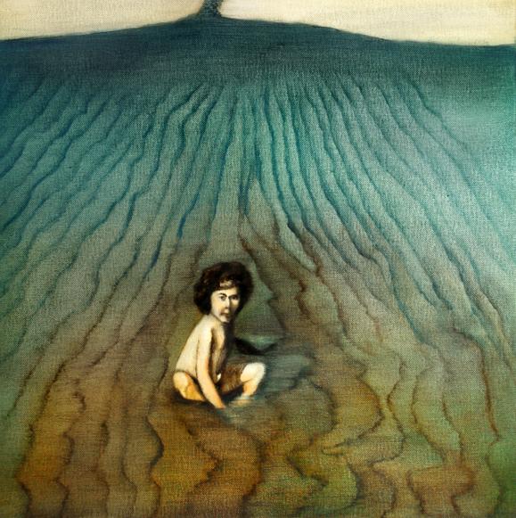 Dans la mer, 50 cm x 50 cm, huile sur toile, 2013, Paris, peinture contemporaine, portrait hocney, davidsalle, ericfischl, fauve