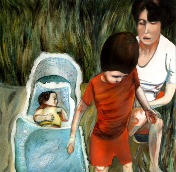 Dans l'herbe, 50 cm x 50 cm, huile sur toile, 2013, Paris, peinture contemporaine, portrai thocney, davidsalle, ericfischl, fauve