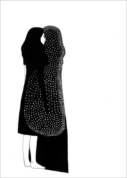 """""""Dans l'ombre"""", encre de Chine sur papier, 14 cm x 21 cm, 2009, Paris"""