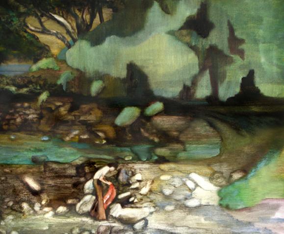 Dans l'oued asséché, 105 cm x 76 cm, huile sur toile, 2013, Paris, peinture contemporaine, portrait hocney, davidsalle, ericfischl, fauve