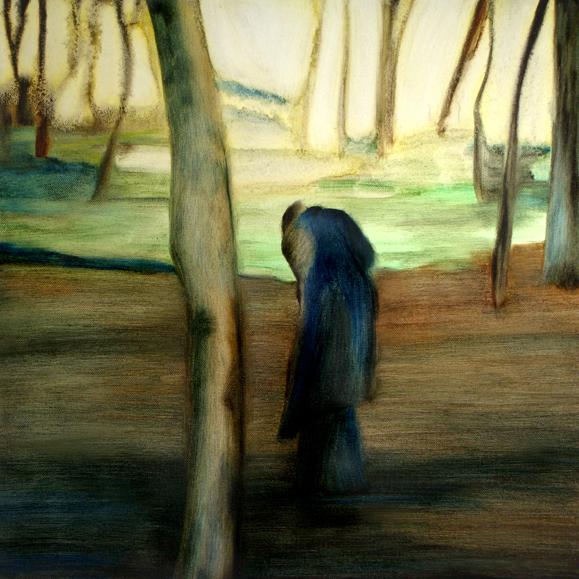 Devant la clairière, 50 cm x 50 cm, huile sur toile, 2013, Paris, peinture contemporaine, portrait hocney, davidsalle, ericfischl, fauve
