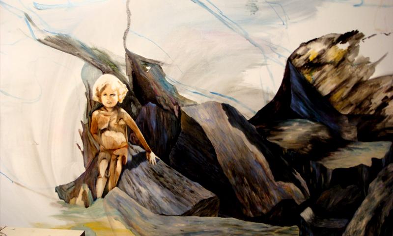Devant la grotte marine, en cours 105 cm x 76 cm, huile sur toile, 2013, Paris, peinture contemporaine, portrait hocney, davidsalle, ericfischl, fauve