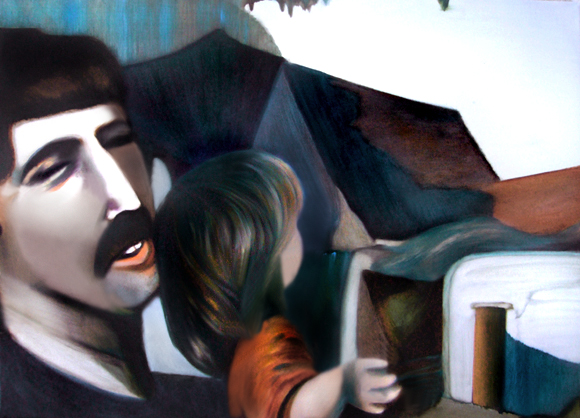 Devant une construction, 50 cm x 36 cm, huile sur toile, 2013, Paris, peinture contemporaine, portrait hocney, davidsalle, ericfischl, fauve 2