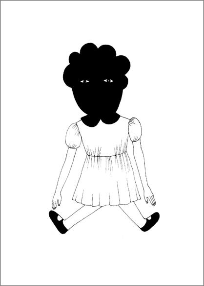 """""""Doll 2"""", encre de Chine sur papier, 14 cm x 21 cm, 2009, Paris"""