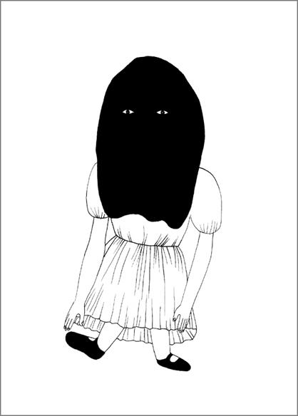 """""""Doll 3"""", encre de Chine sur papier, 14 cm x 21 cm, 2009, Paris"""