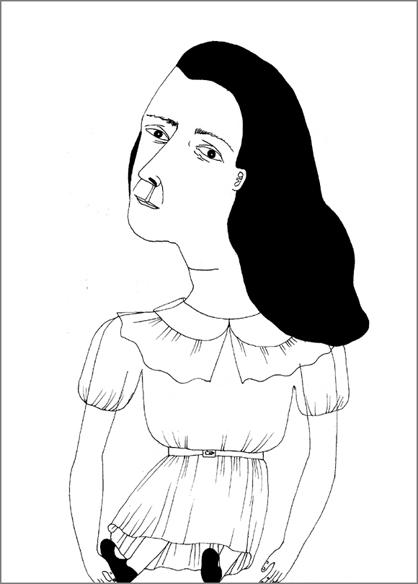 """""""Doll"""", encre de Chine sur papier, 14 cm x 21 cm, 2009, Paris"""
