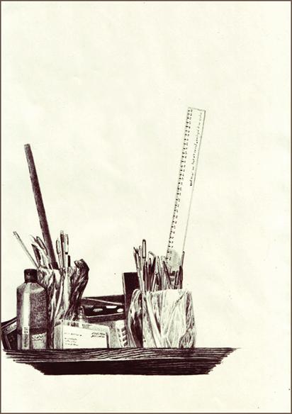 """""""Flûte et 20 cm"""", dessin au stylo, 21 cm x 29,7 cm, 2008"""