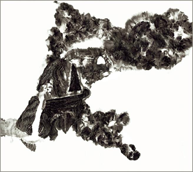 Grand jardin 2, encre de Chine sur papier Japon, 50 cm x 50 cm, 2007, Paris