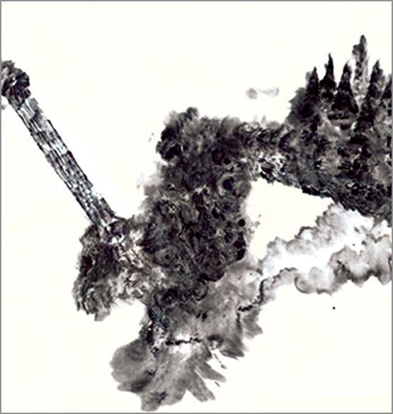 Grand jardin 3, encre de Chine sur papier Japon,50 cm x 50 cm, 2007, Paris