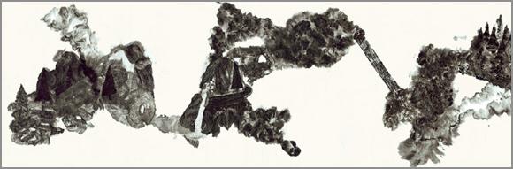 Grand jardin, encre de Chine sur papier Japon 150 cm x 50 cm, 2007, Paris