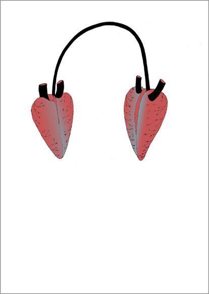 """""""Listen"""", encre de Chine sur papier, 14 cm x 21 cm, 2007"""