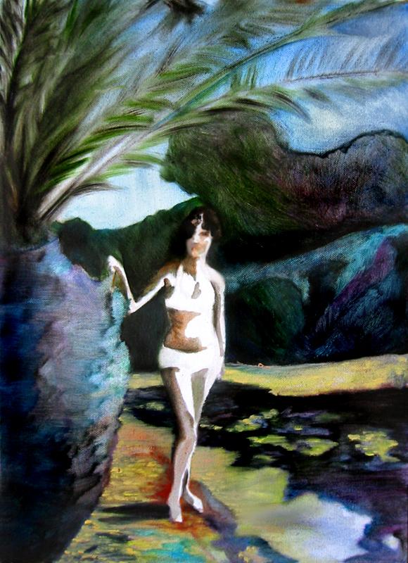 La cote, 50 cm x 36 cm, huile sur toile, 2013, Paris, peinture contemporaine, portrait hocney, davidsalle, ericfischl, fauve