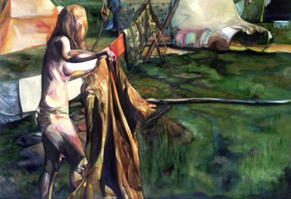 La géante,190 cm x 122 cm, huile sur toile, 2013, Paris, peinture contemporaine, portrait hocney, davidsalle, ericfischl, fauve, woodstock