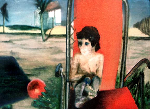 La grande chaise rouge, 105 cm x 76 cm, huile sur toile, 2013, Paris, peinture contemporaine, portrait hocney, davidsalle, ericfischl, fauve