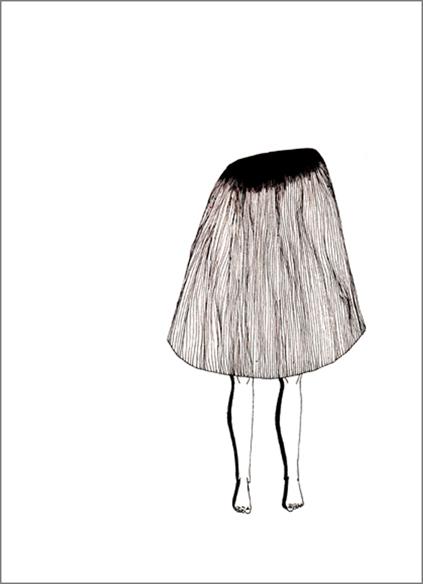 """""""La jupe à l'oeil"""", encre de Chine sur papier, 14 cm x 21 cm, 2009, Paris"""