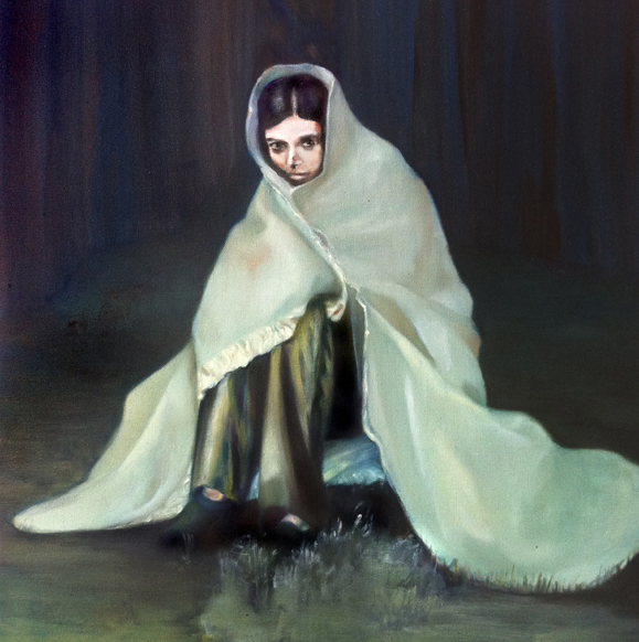 La nuit, 50 cm x 50 cm, huile sur toile, 2013, Paris, peinture contemporaine, portrait hocney, davidsalle, ericfischl, fauve, Woodstock