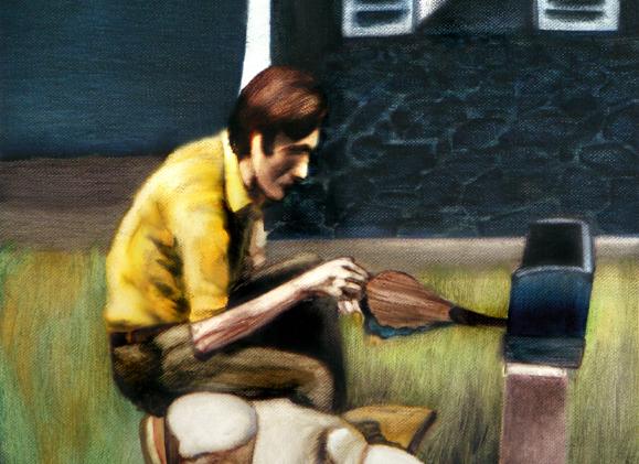 La petite boite de cendres, 20 cm x 36 cm, huile sur toile, 2013, Paris, peinture contemporaine, portrait hocney, davidsalle, ericfischl, fauve