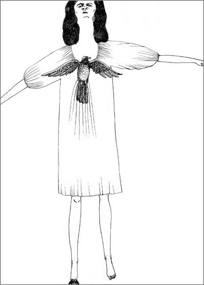 """""""La petite envergure"""", encre de Chine sur papier, 14 cm x 21 cm, 2009, Paris"""