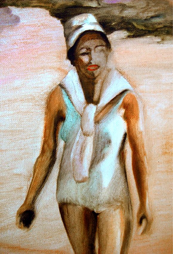 La plage, détail 105 cm x 76 cm, huile sur toile, 2013, Paris, peinture contemporaine, portrait hocney, davidsalle, ericfischl, fauve