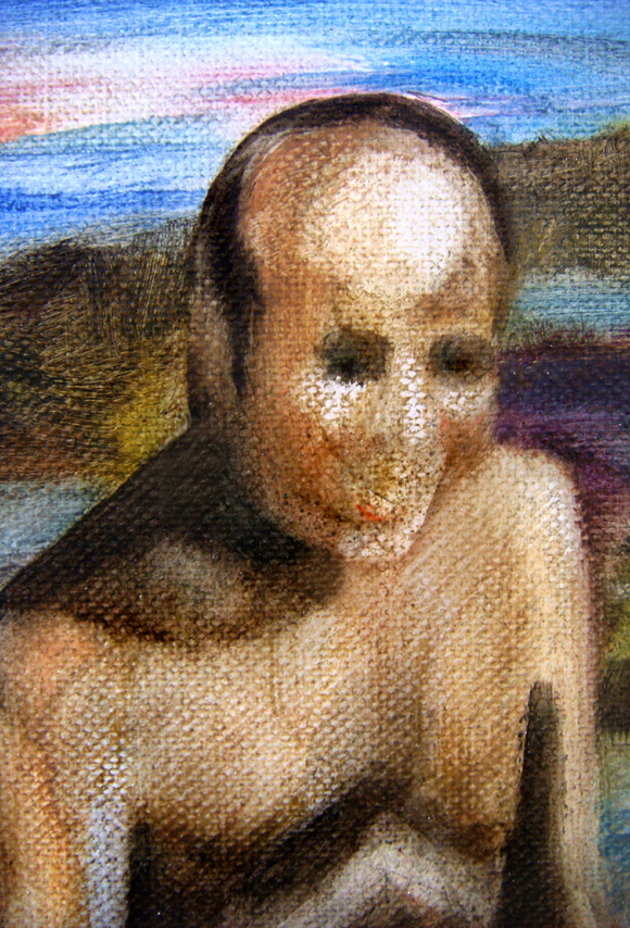 La plage, 105 cm x 76 cm, huile sur toile, 2013, Paris, peinture contemporaine, portrait hocney, davidsalle, ericfischl, fauve