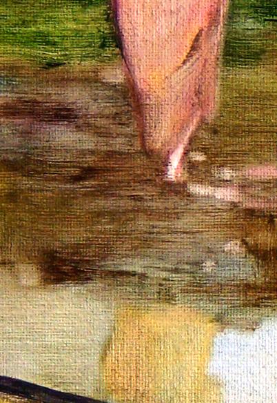 La traversée, 50 cm x 50 cm, huile sur toile, 2013, Paris, peinture contemporaine, portrait hocney, davidsalle, ericfischl, fauve, Woodstock, 2