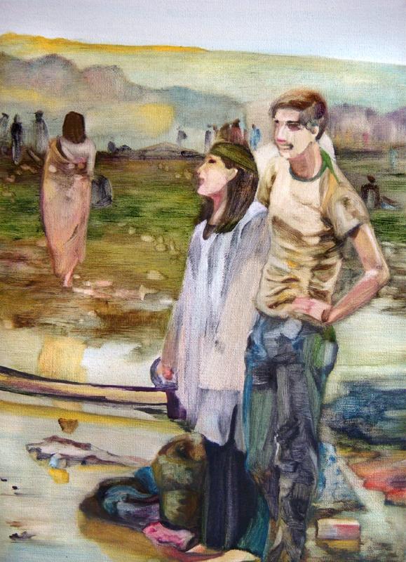 La traversée, 50 cm x 50 cm, huile sur toile, 2013, Paris, peinture contemporaine, portrait hocney, davidsalle, ericfischl, fauve, Woodstock