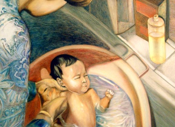 Le bain, 50 cm x 36 cm, huile sur toile, 2013, Paris, peinture contemporaine, portrait hocney, davidsalle, ericfischl, fauve