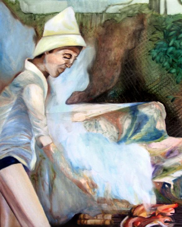Le barbecue, 50 cm x 36 cm, huile sur toile, 2013, Paris, peinture contemporaine, portrait hocney, davidsalle, ericfischl, fauve