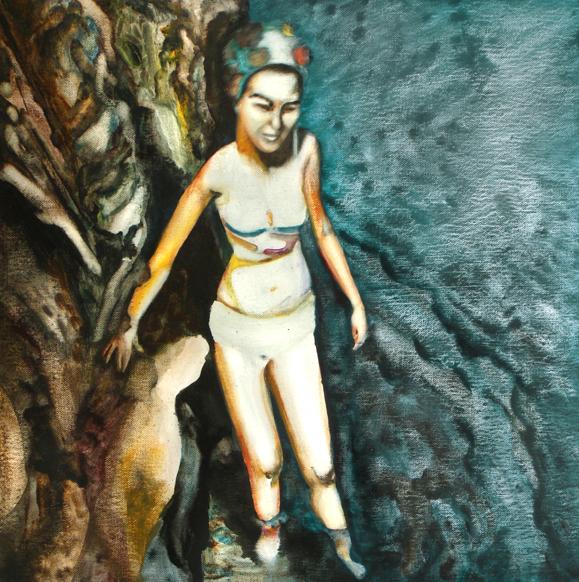 Le bras d'or, 50 cm x 50 cm, huile sur toile, 2013, Paris, peinture contemporaine, portrait hocney, davidsalle, ericfischl, fauve