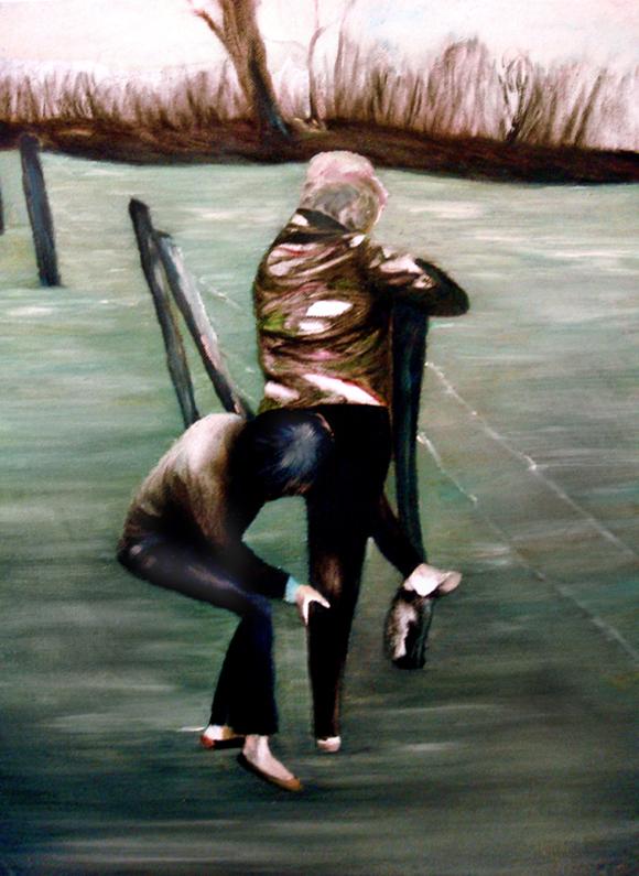 Le camouflage, 50 cm x 36 cm, huile sur toile, 2013, Paris, peinture contemporaine, portrait hocney, davidsalle, ericfischl, fauve