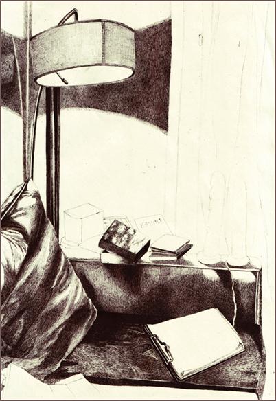 """""""Le carnet blanc"""", dessin au stylo, 21 cm x 29,7 cm, 2008"""