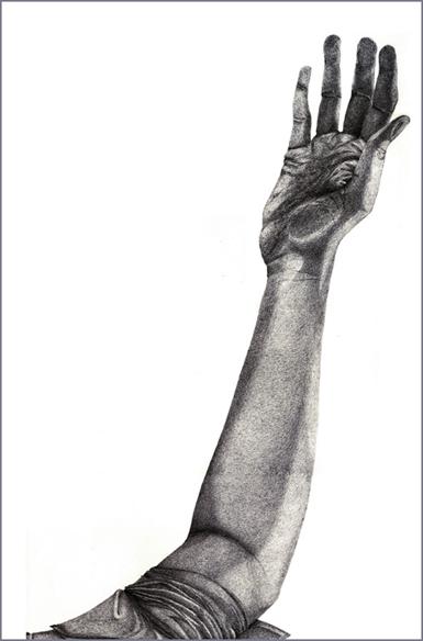 """""""Le cercle"""", mine de plomb sur papier, 80 cm x 40 cm, 2009, Paris"""