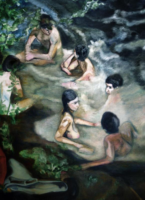 Le grand bain, 105 cm x 50 cm, huile sur toile, 2013, Paris, peinture contemporaine, portrait hocney, davidsalle, ericfischl, fauve, Woodstock