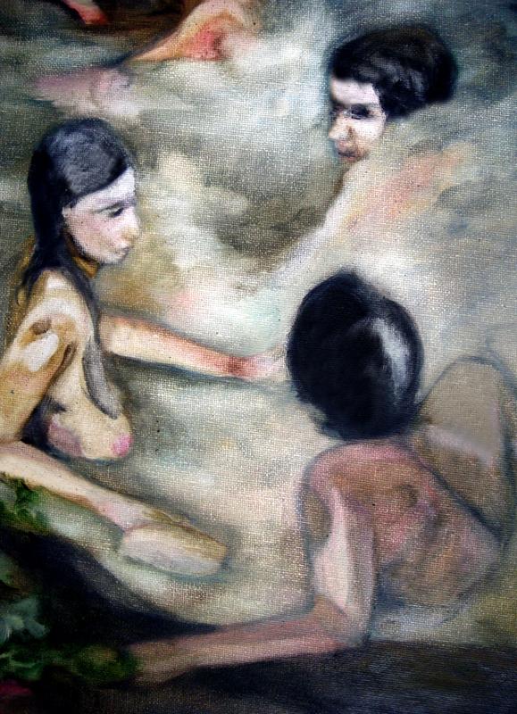 Le grand bain, détail 105 cm x 50 cm, huile sur toile, 2013, Paris, peinture contemporaine, portrait hocney, davidsalle, ericfischl, fauve, Woodstock