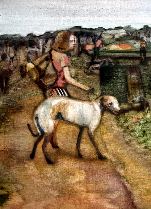Le grand chien, 45 cm x 65 cm, huile sur toile, 2013, Paris, peinture contemporaine, portrait hocney, davidsalle, ericfischl, fauve, woodstock