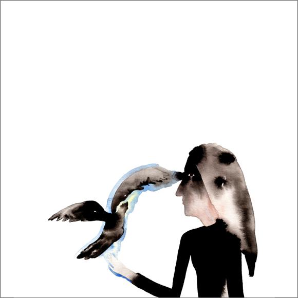"""Le masque de Zora"", aquarelle, 30 cm x 30 cm, 2007, Paris"
