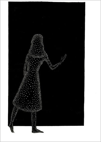 """""""Le mur noir"""", encre de Chine sur papier, 14 cm x 21 cm, 2009, Paris"""