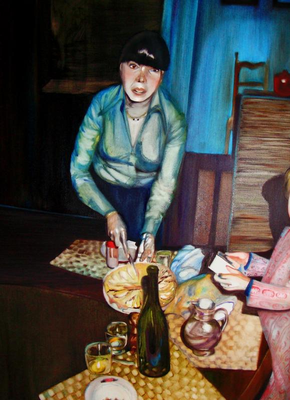 Le partage, 50 cm x 36 cm, huile sur toile, 2013, Paris, peinture contemporaine, portrait hocney, davidsalle, ericfischl, fauve