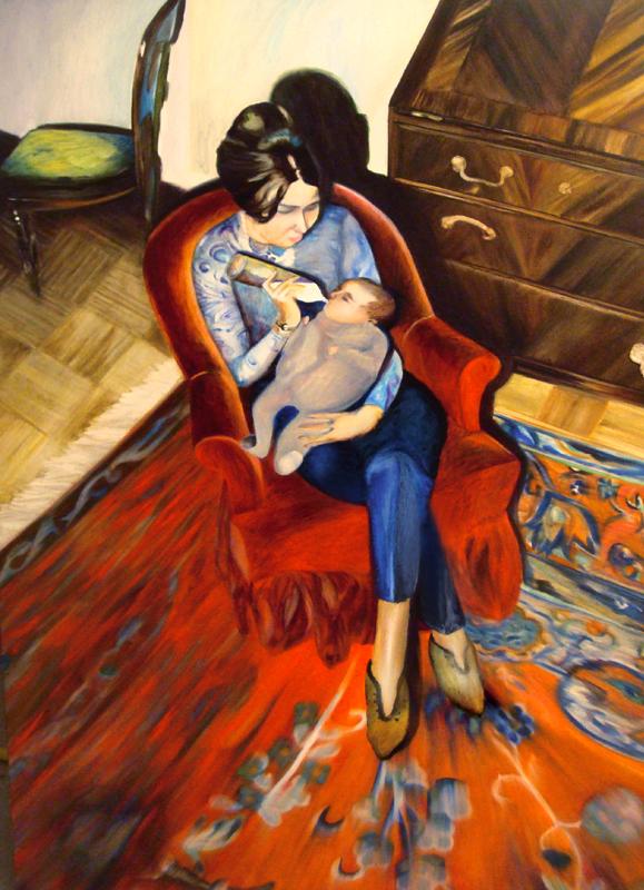 Le salon rouge, 50 cm x 36 cm, huile sur toile, 2013, Paris, peinture contemporaine, portrait hocney, davidsalle, ericfischl, fauve