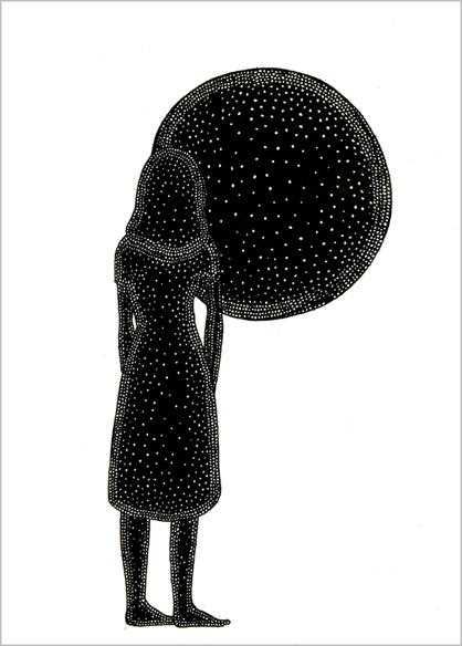 """""""Le soleil"""", encre de Chine sur papier, 14 cm x 21 cm, 2009, Paris"""