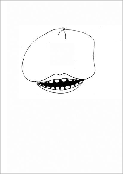 """""""Le sourire"""", encre de Chine sur papier, 14 cm x 21 cm, 2007"""