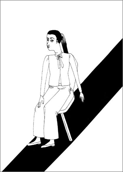 """""""Le téléphérique"""", encre de Chine sur papier, 14 cm x 21 cm, 2009, Paris"""